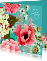 Verjaardagskaart klaproos en veldboeket