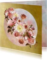 Verjaardagskaart klassiek boeket roze met goud