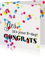 Verjaardagskaart  kleur confetti