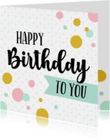 Verjaardagskaart kleurrijk confetti