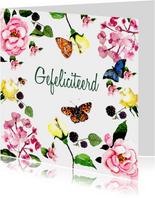Verjaardagskaart Kleurrijk gebloemd met vlinders