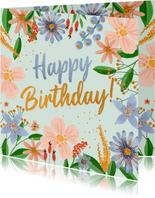 Verjaardagskaart kleurrijke bloemen
