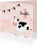 Verjaardagskaart koe 1 jaar meisje lief roze