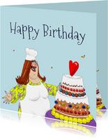 Verjaardagskaart Kokkin met grote taart