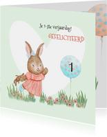 Verjaardagskaart konijntje met ballon