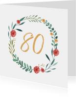 Verjaardagskaart krans bloemen 80 stijlvol