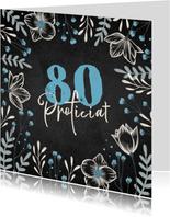 Verjaardagskaart krijtbord bloemen blauw proficiat