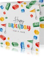 Verjaardagskaart lego bricks klokjes gefeliciteerd
