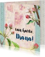 Verjaardagskaart, lente bloesem