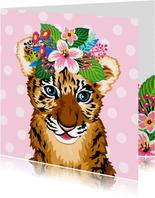 Verjaardagskaart lieve baby tijger bloemen