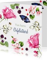 Verjaardagskaart Lieve bloemen met vlinder