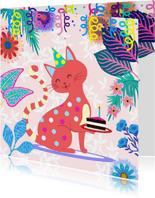 Verjaardagskaart lieve kat bloemen slingers
