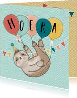 Verjaardagskaart - Luiaard met Ballonnen & Slingers