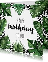 Verjaardagskaart luipaard jungle