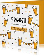 Verjaardagskaart man bier feest slingers confetti