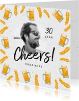 Verjaardagskaart man bier hip foto cheers