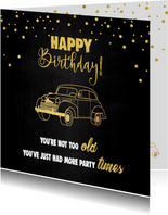 Verjaardagskaart man feestelijk stoer oldtimer