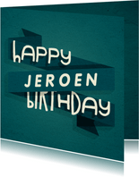 Verjaardagskaart man happy birthday banner met naam