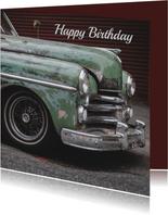 Verjaardagskaart man retro auto