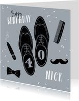 Verjaardagskaart man vintage barbier style schoenen