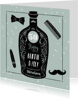 Verjaardagskaart man vintage barbier whisky stoer