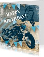 Verjaardagskaart man vintage motor