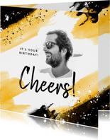 Verjaardagskaart man vrouw kunst verf spetters foto cheers