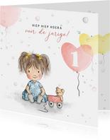 Verjaardagskaart meisje met beertje en ballonnen