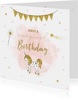 Verjaardagskaart meisje met unicorn en gouden sterren