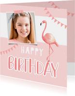 Verjaardagskaart meisje roze foto flamingo slingers