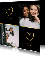 Verjaardagskaart met 2 foto's en gouden randje