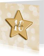 Verjaardagskaart met aanpasbare leeftijd in folieballon ster
