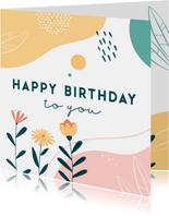 Verjaardagskaart met abstracte elementen