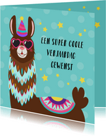 Verjaardagskaart met alpaca met bril