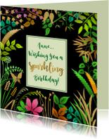 Verjaardagskaart met blaadjes op zwart