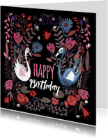 Verjaardagskaart met bloemen en zwanen