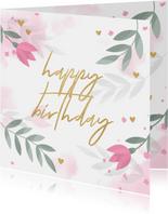 Verjaardagskaart met bloemen, takjes, hartjes en waterverf