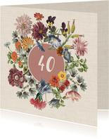 Verjaardagskaart met bloemenkrans
