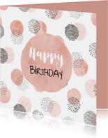 Verjaardagskaart met cirkelpatroon vierkant