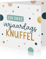 Verjaardagskaart met confetti en hartjes