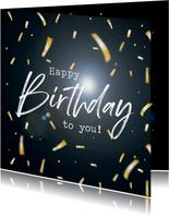Verjaardagskaart met confetti Happy Birthday
