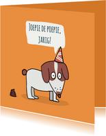 Verjaardagskaart met een drolletje van een puppie...