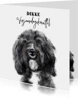 Verjaardagskaart met een tekening van een hond