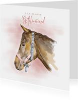 Verjaardagskaart met een tekening van een paard