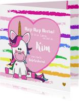 Verjaardagskaart met een vrolijke unicorn