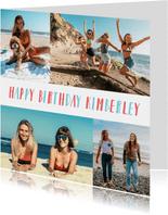 Verjaardagskaart met fotocollage van 4 foto's