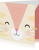 Verjaardagskaart met getekend gezicht van een poes