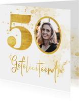 Verjaardagskaart met gouden 50 en foto