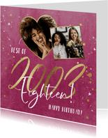 Verjaardagskaart met gouden jaartal op velvet pink