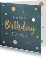 Verjaardagskaart met gouden tekst